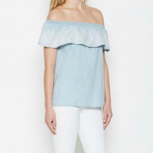 """SOFT JOIE """"THE VILMA TOP"""" BLUE OFF-THE-SHOULDER"""